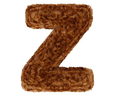 animal fur: Wild animal brown bushy bear decorative fur alphabet capital letter Z. 3d rendering illustration. Isolated on white background