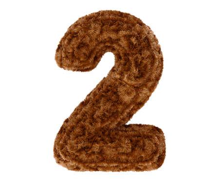 pelage: Wild animal brown bushy bear decorative fur alphabet golden digit two symbol - 2. 3d rendering illustration. Isolated on white background