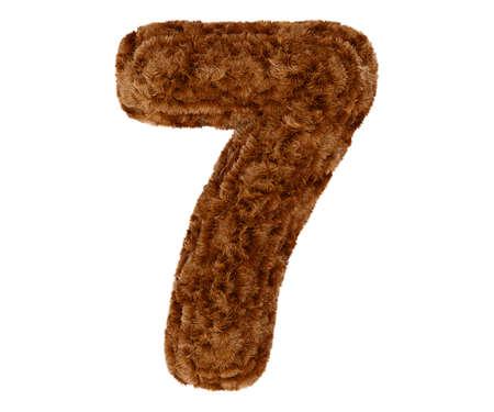 animal fur: Wild animal brown bushy bear decorative fur alphabet golden digit seven symbol - 7. 3d rendering illustration. Isolated on white background Stock Photo