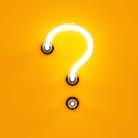 Neon light alphabet character question sign font. Neon tube letter glow effect on orange background. 3d rendering