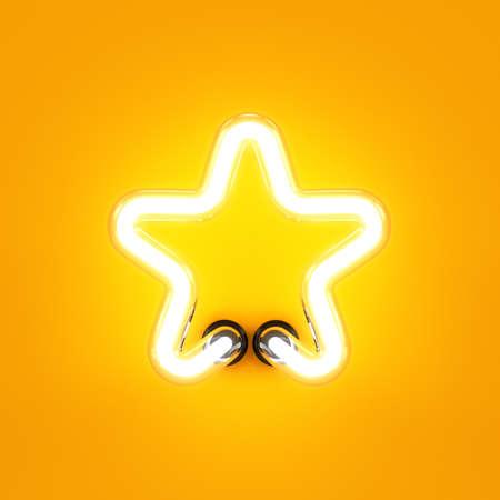 Neon light alphabet character star font. Neon tube letter glow effect on orange background. 3d rendering