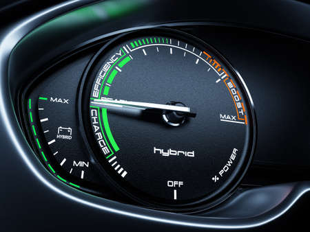 Hybrid car illuminated dashboard speedometer tachometer with full energy level and ready to drive mode. 3d renderin illustration