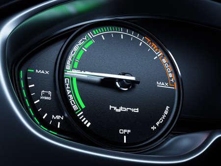 Hybride auto verlicht dashboard snelheidsmeter toerenteller met volledige energie-niveau en klaar om mode te rijden. 3d renderin illustratie Stockfoto