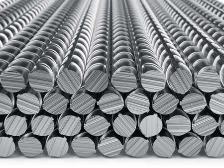 white bars: Reinforcement bars stack isolated on white background. 3d rendering illustration Stock Photo