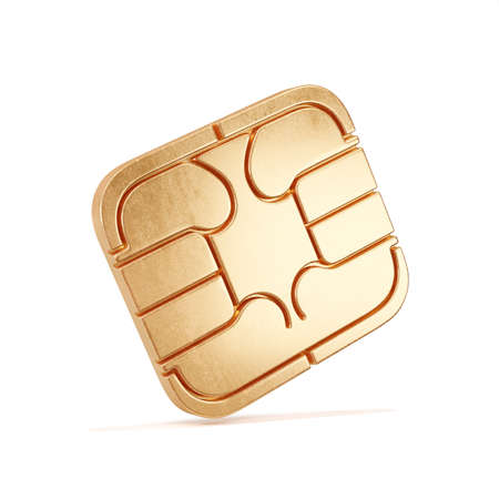 SIM card chip isolated on white background. 3d rendering illustration