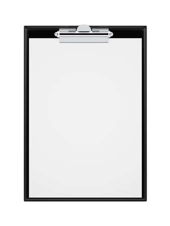memos: Black clipboard with blank sheets of paper isolated on white. 3d rendering illustration
