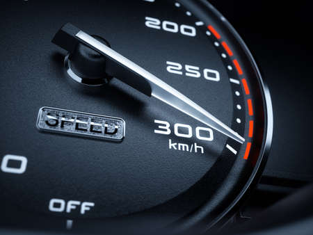 high speed: Car speedometer 3d rendering illustration. High speed concept  Stock Photo