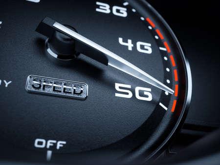 high speed internet: Wireless network speed concept, speedometer 5G evolution. 3d rendering