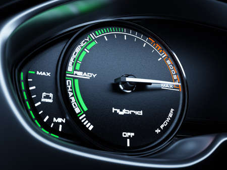 Hybrid car illuminated dashboard speedometer tachometer with full energy level and MAX BOOST power. 3d renderin illustration