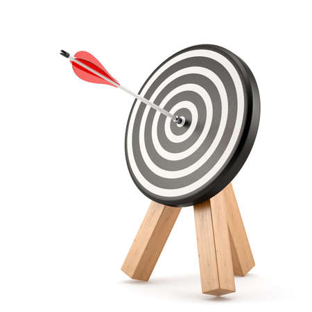 dart board: Target board with arrow hit isolated on white background. 3d rendering illustration Stock Photo