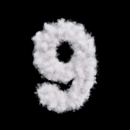 on cloud nine: Digit number nine 9 font of white cloud shape. Cloudy numeric character. 3d rendering illustration. Isolated on black background