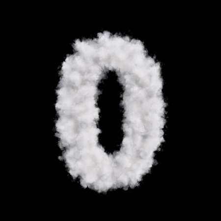 null: Digit number zero 0 font of white cloud shape. Cloudy numeric character. 3d rendering illustration. Isolated on black background Stock Photo