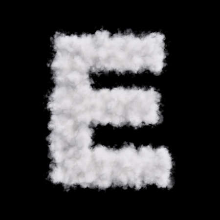 e white: Capital letter E font of white cloud shape. Cloudy alphabet. 3d rendering illustration. Isolated on black background Stock Photo