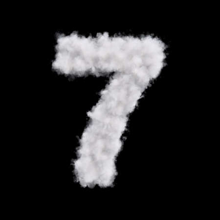 Digit number 7 seven of white cloud shape. Cloudy numeric character. 3d rendering illustration. Isolated on black background