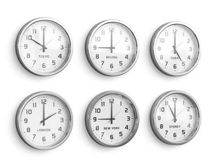 timezone: World time wall. Timezone clocks showing different time isolated on white wall background. 3d rendering illustration