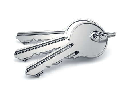 keys isolated: Door keys isolated on white background. 3d rendering illustration Stock Photo