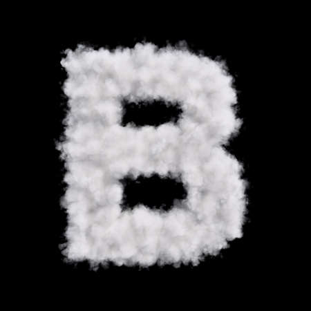 b days: Capital letter B font of white cloud shape. Cloudy alphabet. 3d rendering illustration. Isolated on black background