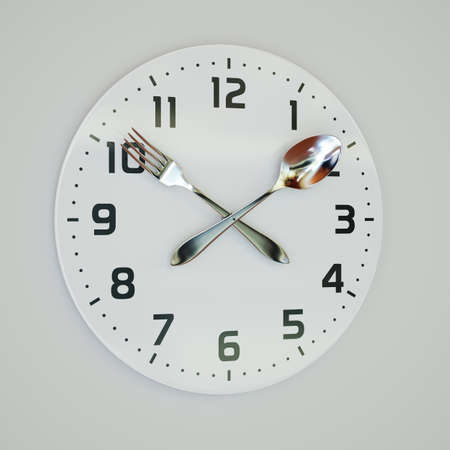 3d rendering illustration of fork and spoon clock on the wall