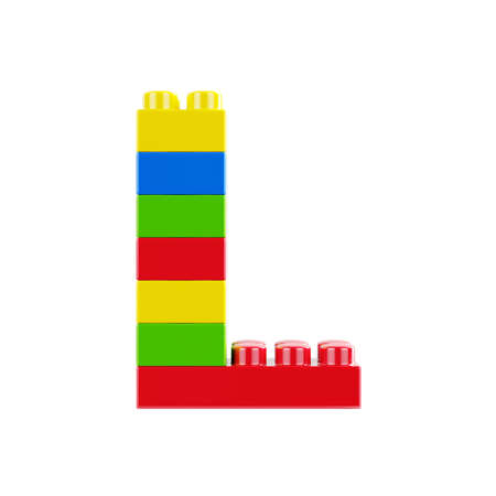 Letter L plastic font alphabet character made of toy construction brick blocks. Isolated on white background 版權商用圖片