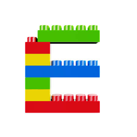 Letter E plastic font alphabet character made of toy construction brick blocks. Isolated on white background