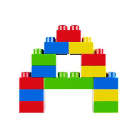 Buchstabe Eine Plastikschriftalphabetcharakter, der von den Spielzeugaufbau-Ziegelsteinblöcken gebildet wird. Isoliert auf weißem Hintergrund Standard-Bild