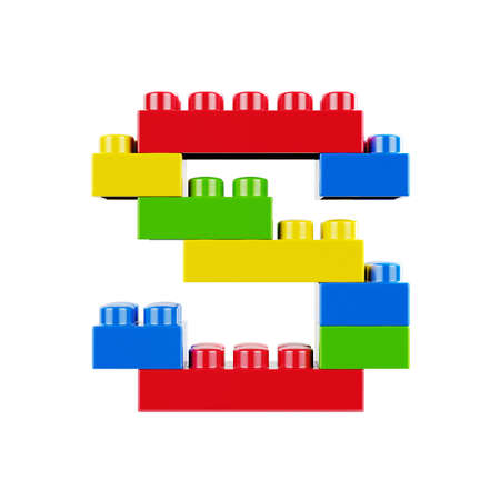 Letter S plastic font alphabet character made of toy construction brick blocks. Isolated on white background