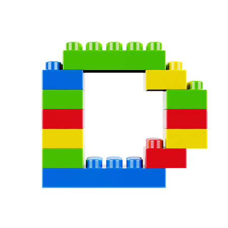 Letter D plastic font alphabet character made of toy construction brick blocks. Isolated on white background 版權商用圖片