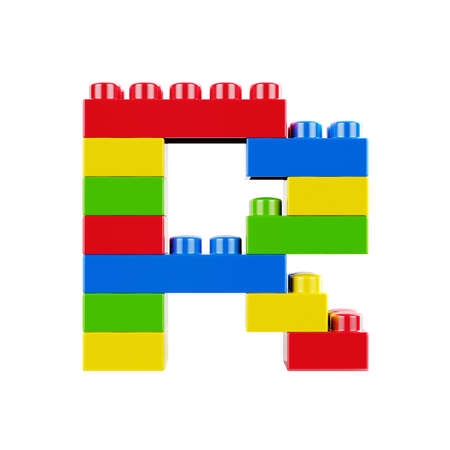 Letter R plastic font alphabet character made of toy construction brick blocks. Isolated on white background 版權商用圖片