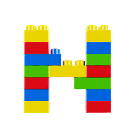 Letter N plastic font alphabet character made of toy construction brick blocks. Isolated on white background