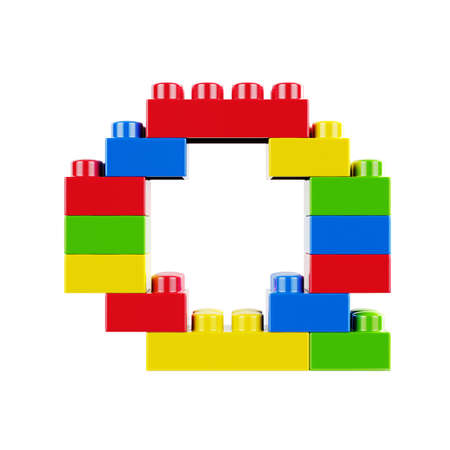 Letter Q plastic font alphabet character made of toy construction brick blocks. Isolated on white background Stock Photo