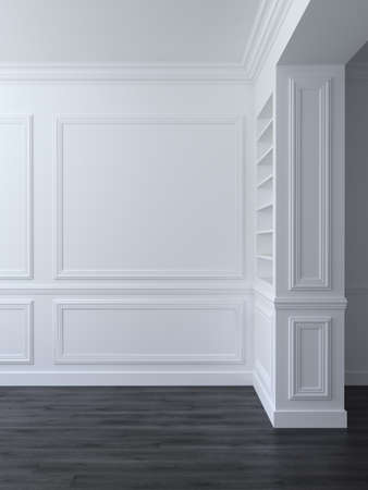 White classic empty space interior with panels on wall. 3d render illustration
