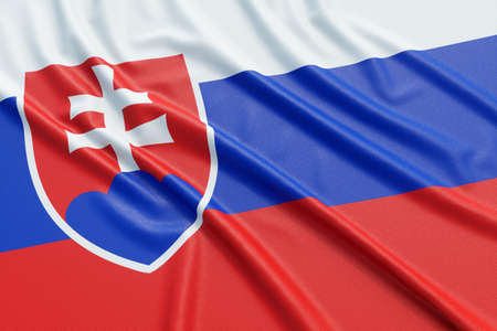 ensign: Slovakia flag. Wavy fabric high detailed texture. 3d illustration rendering