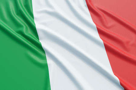 italy culture: Italy flag. Wavy fabric high detailed texture. 3d illustration rendering