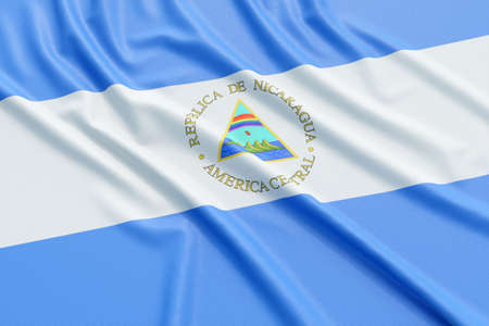 nicaragua: Nicaragua flag. Wavy fabric high detailed texture. 3d illustration rendering Stock Photo