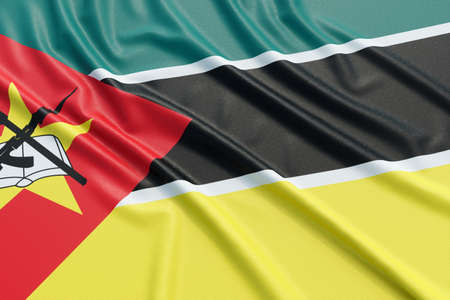Mozambique flag. Wavy fabric high detailed texture. 3d illustration rendering Stock Photo