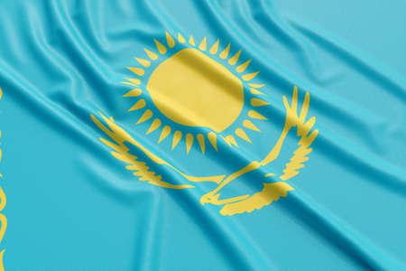 Kazakhstan flag. Wavy fabric high detailed texture. 3d illustration rendering