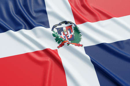 The Dominican Republic flag. Wavy fabric high detailed texture. 3d illustration rendering