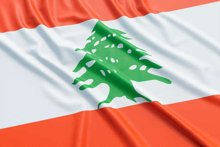ensign: Lebanon flag. Wavy fabric high detailed texture. 3d illustration rendering