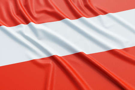 ensign: Austria flag. Wavy fabric high detailed texture. 3d illustration rendering