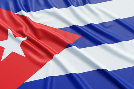 Cuba flag. Wavy fabric high detailed texture. 3d illustration rendering