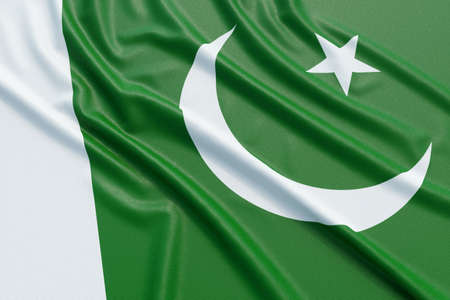 flag of pakistan: Pakistan flag. Wavy fabric high detailed texture. 3d illustration rendering Stock Photo