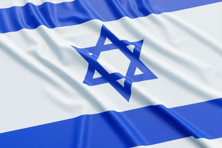 Israel flag. Wavy fabric high detailed texture. 3d illustration rendering