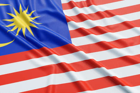 ensign: Malaysia flag. Wavy fabric high detailed texture. 3d illustration rendering Stock Photo