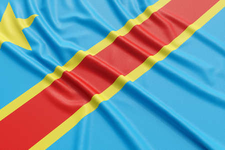 The Democratic Republic of the Congo flag. Wavy fabric high detailed texture. 3d illustration rendering