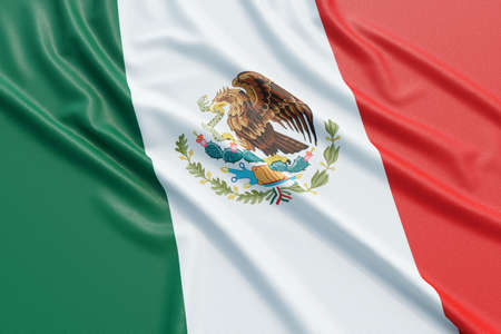 Mexico flag. Wavy fabric high detailed texture. 3d illustration rendering