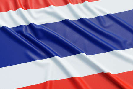 ensign: Thailand flag. Wavy fabric high detailed texture. 3d illustration rendering