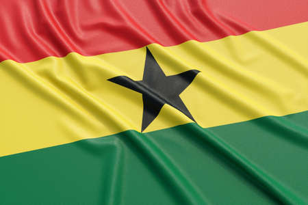 Ghana flag. Wavy fabric high detailed texture. 3d illustration rendering