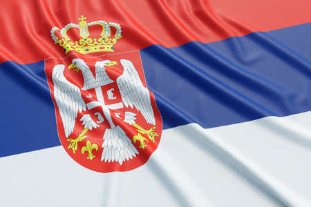 Serbia flag. Wavy fabric high detailed texture. 3d illustration rendering Stock Photo