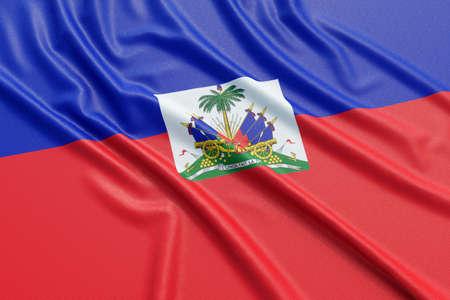 Haiti flag. Wavy fabric high detailed texture. 3d illustration rendering