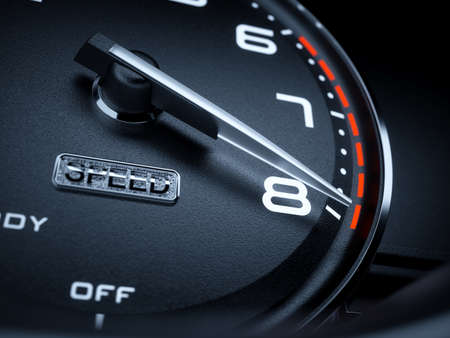 kilometer: Car illuminated dashboard speedometer tachometer with max boost power. 3d renderin illustration